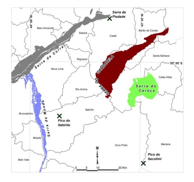Mapa de localização da Serra do Gandarela