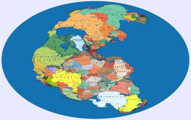 O quebra-cabeças do mapa detalhado do Pangeia
