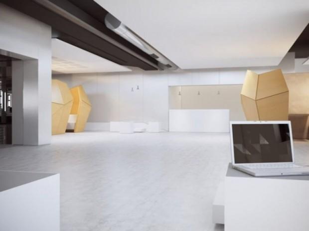 Hall da Escola 42: limpo, claro e funcional. Precisaria mais?