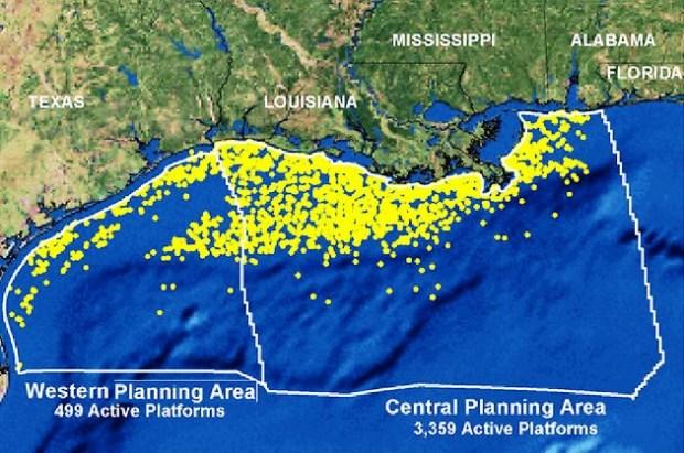 Plataformas ativas no Golfo do México