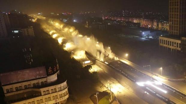A maior demolição de viaduto jamais realizada na China – Foto BBC