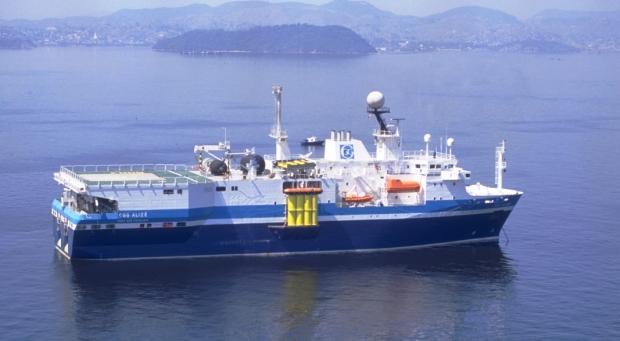 Moderno navio para levantamento de dados sísmicos off shore