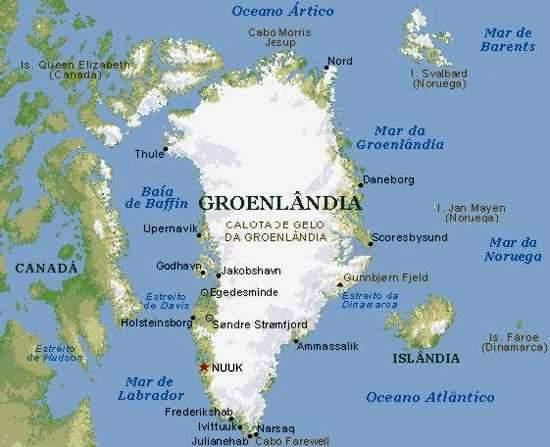 Mapa da Groenlândia ou Gronelândia